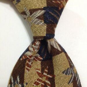 ERMENEGILDO ZEGNA Men's 100% Silk Necktie ITALY Luxury FLORAL Brown/Blue GUC