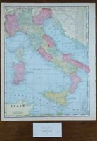 "Vintage 1900 ITALY Map 11""x14"" ~ Old Antique Original FLORENCE MILAN NAPLES ROME"
