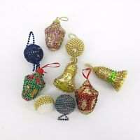 Vintage Bead and Sequin Christmas Ornaments Handmade Lot of 9