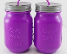 2 PURPLE Mason Jar Style 16oz Drinking Cup Plastic w/Krazy Straws Summer Kids
