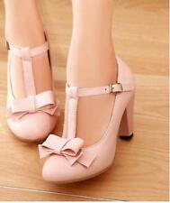 New Womens Kitten Hight Heel T Strap Bar Mary Jane Vintage Pumps shoes Pink US7