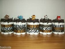5 JUNGLE ANIMAL MINI DIAPER CAKES BOY NEUTRAL BABY SHOWER DECORATION MONKEY CUTE