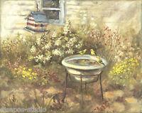 """Pool Party, Goldfinches"" Debra Sepos original oil 8"" x 10"" birdbath & birdhouse"