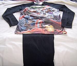 Marvel Avengers Assemble Mens Black Printed 2 Piece Pyjama Set Size S New