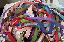 100% PURE SILK RIBBON 13MM  50 YD ASSORTM. 25 COLORS 2 yd LENGHTS