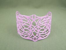 Purple cuff bracelet filigree cut out pattern painted metal bangle wide bracelet