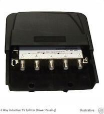 4 Way Outdoor TV Saorview Freeview Splitter 47-862Mhz Power Passing