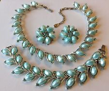 VINTAGE LISNER SIGNED AQUA BLUE RHINESTONE NECKLACE BRACELET & EARRING SET