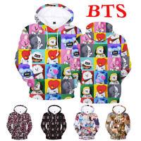 KPOP BTS 3D Sweatshirt Hoodie Hooded Pocket Sweater Bangtan Boys Clothes