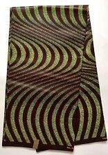 African Fabric, Ankara- Brown, Green, 'Gucci' Design, By the Yard
