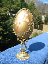 """HAND EMBROIDERED GOOSE EGG ORNAMENT""""Japanese  Blooming"""" . Easter"""