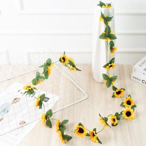 2.6M Artificial Sunflower Garland Fake Flowers Ivy Silk Leaf Home Wedding Decor