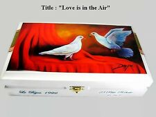 """Humidor Cigar box w/ """"Love is in the Air"""" Oil Paintings on Top . Originals Box"""