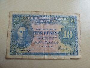 Malaya George VI 10 Cents 1941 Banknote (refn80BN)