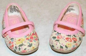 Toddler Girls Genuine Kids Cream w/Multi-Color Flowers Shoes Size 2