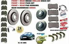 FOR MERCEDES SL55 AMG 2002-> FRONT REAR DRILLED BRAKE DISCS SET + PADS + SHOES