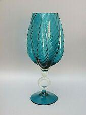 Large Vintage Italian Empoli Blue Glass Ring Stem Footed Vase 60s
