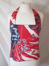 Principles Halter Neck Top Red Ivory Blue size 12 14 Retro Floral Summer Blouse