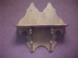 Antique Oak Display Wall Clock Shelf