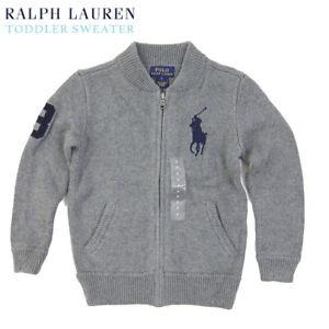 Polo Ralph Lauren Kid's Full Zip Big Pony Sweater Cardigan - Grey - size (2-7)