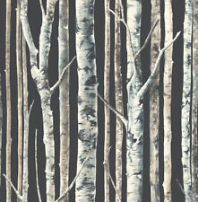 Birch Noir Black Blue White Trees Forest Contemporary Double Roll Wallpaper