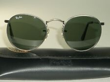 46MM SMALL VINTAGE B&L RAY BAN W1575 G15 PEWTER ROUND AVIATORs SUNGLASSES w/CASE