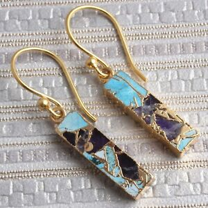 Bar Shape Compressed Gemstone Jade Copper Turquoise Gold Plated Hook Earrings