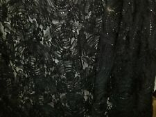 Sequin Rose Tulle Lace Fabric  Black Special Occasion  Bfab