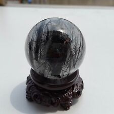 142g NATURAL Black Tourmaline QUARTZ CRYSTAL SPHERE BALL/Stand S610