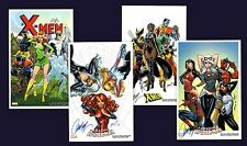 J SCOTT CAMPBELL SPIDERMAN & X-MEN SET OF 4 SDCC 2017 ART PRINTS  SIGNED 11x17