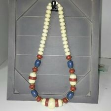 Chunky NECKLACE Wood Bead red white blue Graduated very 80's
