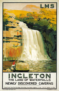 TX585 Vintage Ingleton Falls Waterfalls Travel Poster LMS Railways A2/A3/A4