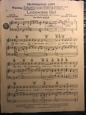 1951 Dayton Ohio Radio Show Theme Sheet Music 'Lonesome Gal'