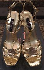 "NINA NEW YORK Gold Exotic LIOLA 5"" Heels Sandals Size 7 NWB Cute Shoes"