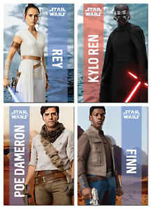 STAR WARS The Rise Of Skywalker - 4 Card Promo Set - Rey Kylo Ren Poe Finn