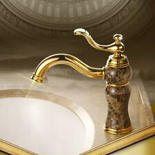 Lamp Shape Bathroom Sink faucet Luxury Mixer Tap With Marble Stone Gold