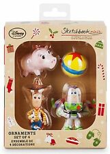 Disney Toy Story Sketchbook Set of 4 Mini Ornament Set Woody Buzz Lightyear Hamm