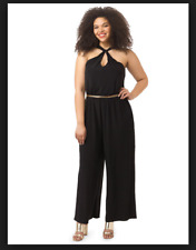 NEW CITY CHIC BLACK DISCO QUEEN JUMPSUIT PANTS PLUS SIZE SMALL S 16