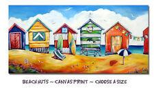 "DEBORAH BROUGHTON ART Stretched Canvas Beach Print ""Beach Shacks"" Choose a size"