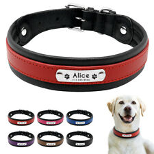 Leather Personalised Dog Collar for Medium Large Dogs ID Nameplate Tag Engraved