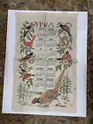 vintage 1965 calendar Linen Cloth kitchen Towel by Stevens bird scene Read!