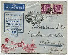 NEDERLAND-INDIE, 1ST FLIGHT DOUGLAS DC3, ANNUL BATAVIA, 1937, 2 STAMPS OF 20   m