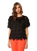 Bettina Liano Ladies Fringe Tee Top size 6 Colour Black