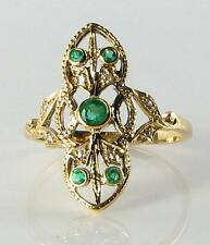 DIVINE LONG 9K 9CT GOLD COLOMBIAN EMERALD & DIAMOND RING