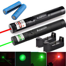 2Set 900Miles Green+Red Laser Pointer Pen Visible Beam Lazer 18650Batt+Charger