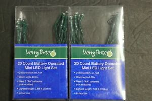 2  Merry Brite 20 x 2 count Cool  Bulb Battery operated LED lights Green String