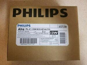 Lot of 10 Philips PL-C 13W/835/4P/Alto Compact Fluorescent Light Bulbs