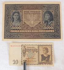 2 billets anciens 20 Reichsmark 1939 + 5000 Marek 1920