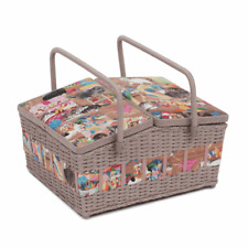 SEWING BASKET BOX 'HABY CATS' DESIGN FUN CATS LARGE TWIN LID SUPER QUALITY