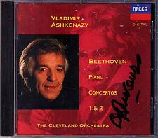 Vladimir Ashkenazy SIGNED Beethoven Piano Concerto 1 2 DECCA cd pianoforte concerti